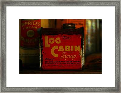 Log Cabin Syrup Framed Print by Jeff Swan