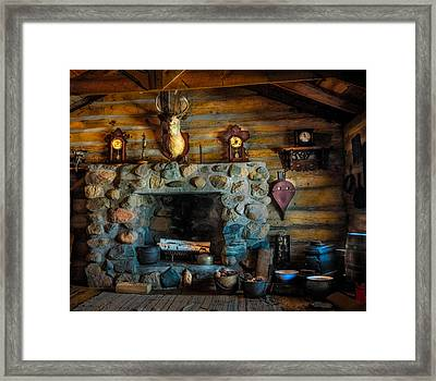 Log Cabin With Fireplace Framed Print by Paul Freidlund