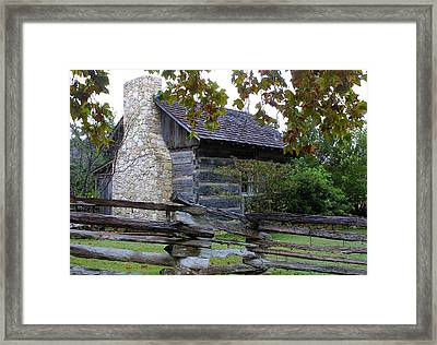 Log Cabin With  Split Rail Fence Framed Print