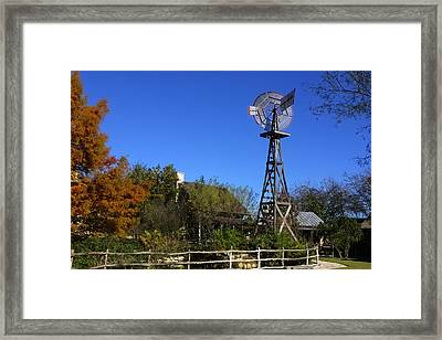 Log Cabins Windmill Framed Print