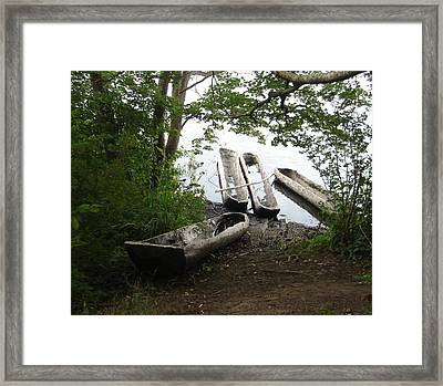 Framed Print featuring the photograph Log Canoes by Kerri Mortenson