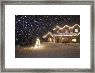 Log Home Decorated With Christmas Framed Print