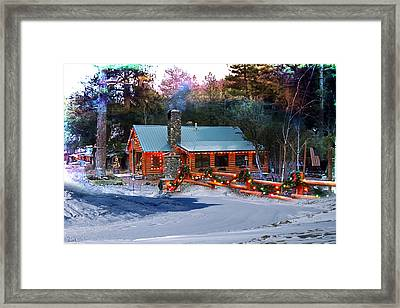 Log Home On Mount Charleston With Christmas Decoration Framed Print by Gunter Nezhoda