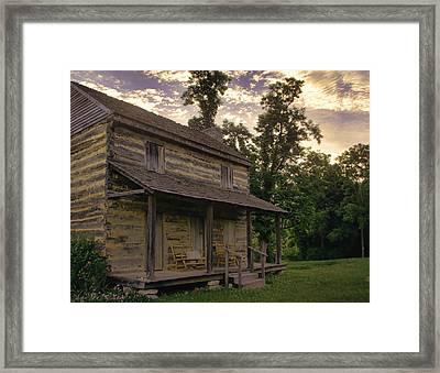 Log House Dusk Framed Print by Heather Applegate