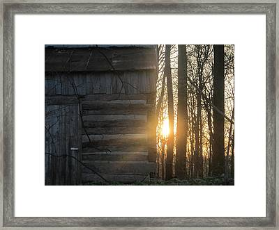 Log House Up Close And Sunset Framed Print
