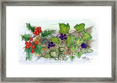 Log Of Ivy, Holly And Hazelnuts  Framed Print