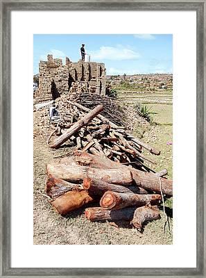 Log Pile And Brick Kiln Framed Print