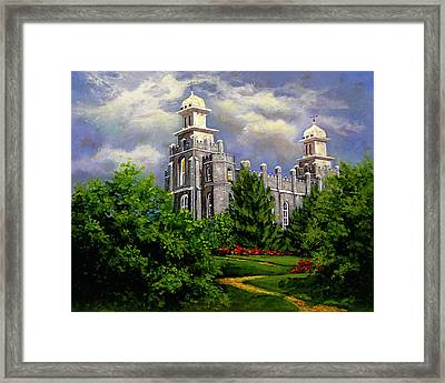 Logan Utah Temple Pathway To Heaven Framed Print