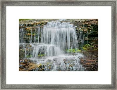 Logans Pass Waterfall Glacier National Park Framed Print by Rich Franco