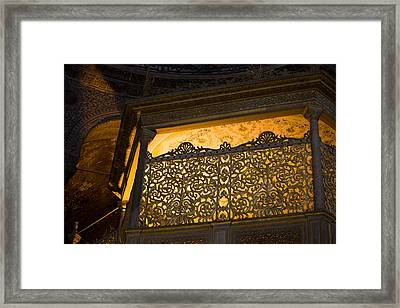Loge Of The Sultan In Hagia Sophia  Framed Print by Artur Bogacki