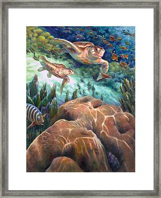 Loggerhead Sea Journey I Framed Print by Nancy Tilles