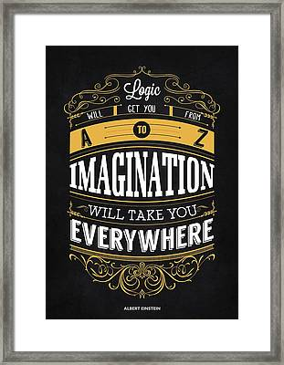 Logic And Imagination From Albert Einstein Inspirational Quotes Poster Framed Print