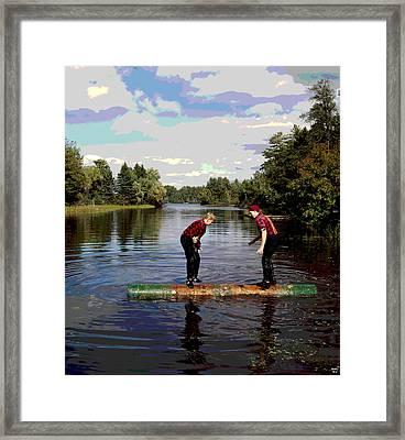 Logrolling Lumberjacks Framed Print by Charles Shoup