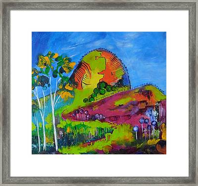 Framed Print featuring the painting Lollipop Mountain by Lyn Olsen