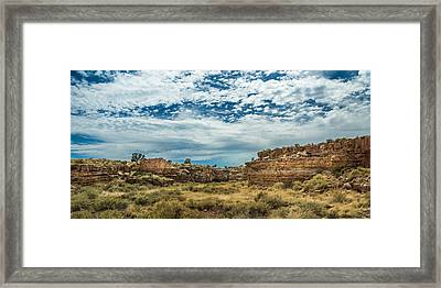 Lomaki Pueblo In Box Canyon Framed Print by Chris Bordeleau