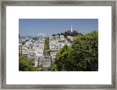 Lombard Street And Coit Tower On Telegraph Hill Framed Print
