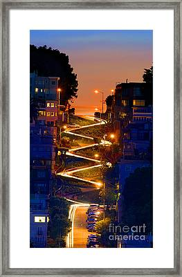 Lombard Street Depth Into The Darkness Of Light Framed Print by Wernher Krutein