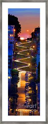 Lombard Street In The Evening San Francisco Framed Print