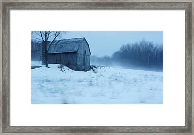 Lomesome Hip Roofed Barn Over Looking The Back Forty Framed Print by Rosemarie E Seppala