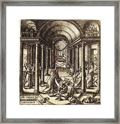Léonard Gaultier, French 1561-1641, Christ Driving Framed Print by Litz Collection
