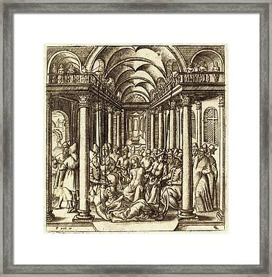 Léonard Gaultier, French 1561-1641, Christ Heals Framed Print by Litz Collection