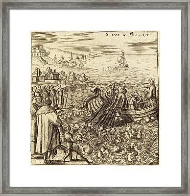 Léonard Gaultier, French 1561-1641, The Miraculous Draught Framed Print
