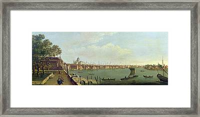 London Bridge And The City From The Terrace Of Somerset House Oil On Canvas Framed Print by Francis Smith