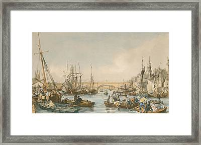 London Bridge From The Pool Framed Print by William Parrot