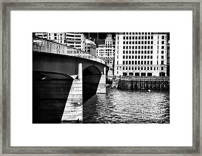 London Bridge View Framed Print by John Rizzuto
