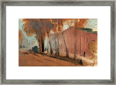 London, Building With Trees Study For Chelsea Embankment Framed Print by Litz Collection