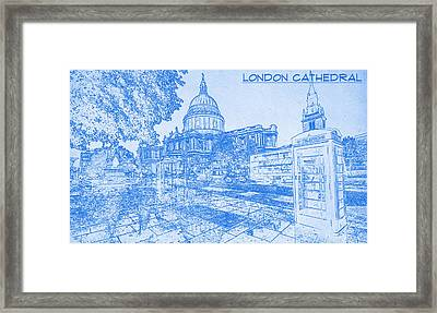 London Cathedral  - Blueprint Drawing Framed Print