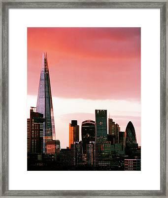 London City Skyline At Sunset - Framed Print by Shomos Uddin