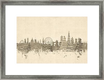 London England Skyline Sheet Music Cityscape Framed Print