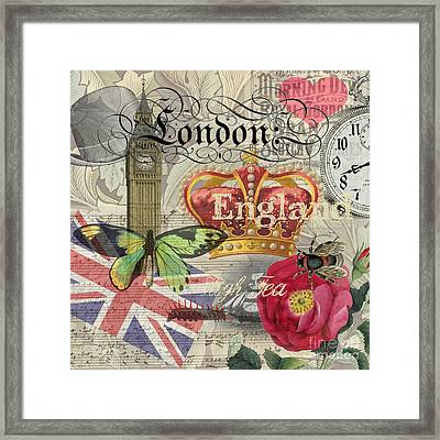 London England Vintage Travel Collage  Framed Print