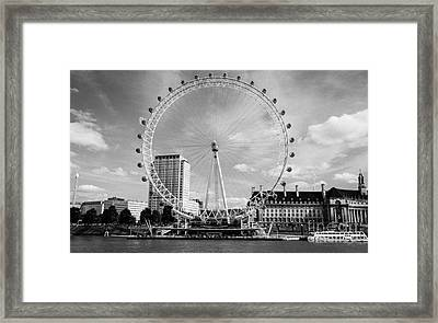 Framed Print featuring the photograph London Eye Head-on Bw by Matt Malloy