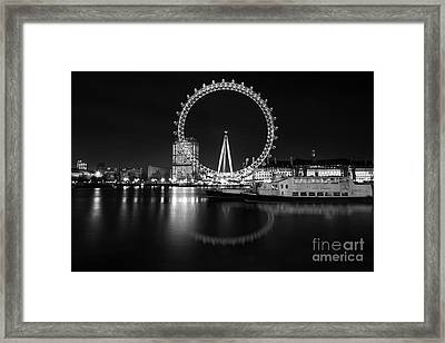 Framed Print featuring the photograph London Eye Mono by Matt Malloy