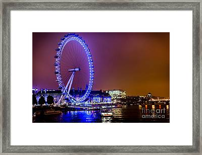 Framed Print featuring the photograph London Eye Night Glow by Matt Malloy