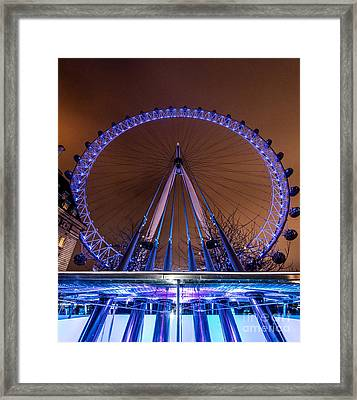 Framed Print featuring the photograph London Eye Supports by Matt Malloy
