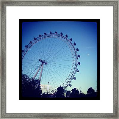 London Eye With Full Moon Framed Print by Maeve O Connell