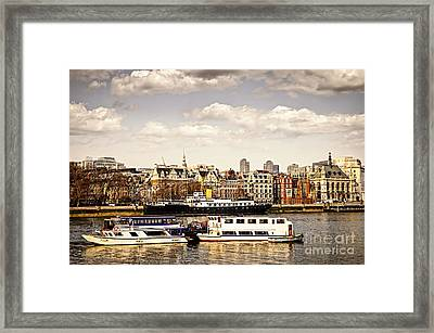 London From Thames River Framed Print by Elena Elisseeva