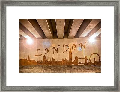 London Graffiti Skyline Framed Print by Semmick Photo