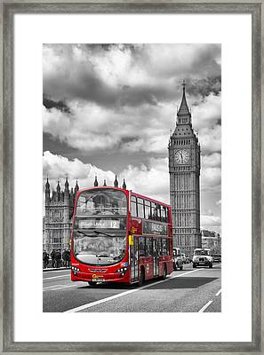 London - Houses Of Parliament And Red Bus Framed Print