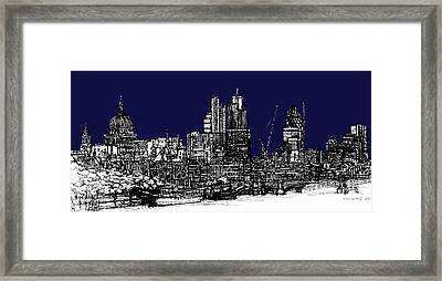 Dark Ink With Bright London Roofscape In Navy Blue Framed Print
