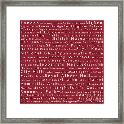 London In Words Red Framed Print