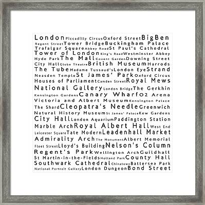 London In Words White Framed Print by Sabine Jacobs
