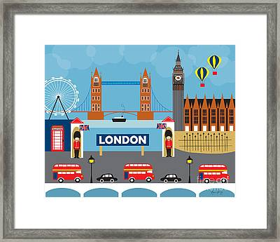 London England Skyline By Loose Petals Framed Print by Karen Young
