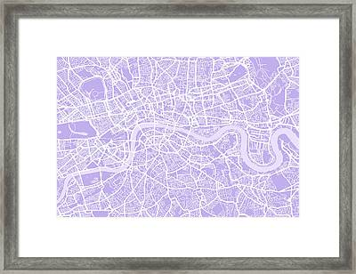 London Map Lilac Framed Print by Michael Tompsett