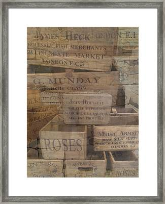 London Market Traders Crates Framed Print