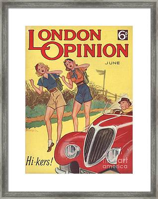 London Opinion 1930s Uk     Hitchhiking Framed Print by The Advertising Archives