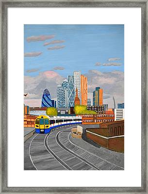 London Overland Train-hoxton Station Framed Print
